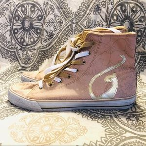 BABY PHAT rose gold/gold high top sneakers sz 10